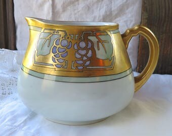 French Limoges Cider Pitcher Art and Crafts Era Gilt N.S. & Co France