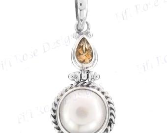 "1 1/4"" Biwa Pearl Citrine 925 Sterling Silver Pendant"