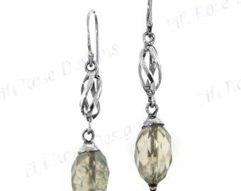 "1 1/16"" Prehnite 925 Sterling Silver Drop Earrings"