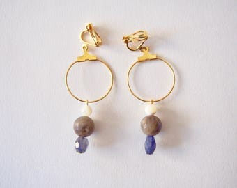 Iorite, Labradorite & Mother of Pearl Earrings with Plated Metal Hoop in Gold, Clip On/Hooks/Studs, Talisman, Amulet, Good Luck Charm, Hope