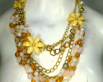 Pink, White, Pale Yellow & Gold Multichain Necklace, OOAK Rachelle Starr, Asymmetrical Bib, Metal Glass and Stones