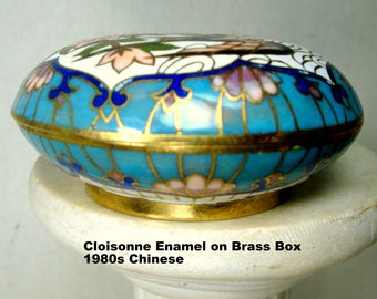 Vintage Cloisonne Box, Chinese 1980s Beautiful Birds & Cherry Blossoms Enamel  Dresser Box