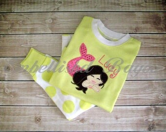 SALE!! Personalized Appliqued Short Sleeve Pajamas, Yellow Polka Dot for Girls size 2T