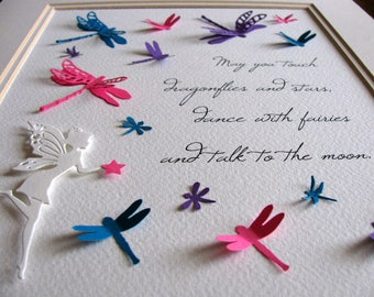 Dance with Fairies, Touch Dragonflies 3D Word Art / Pink, Teal, Purple or YOUR Colour Choices for Dragonflies / 8x10 inches / Made to Order