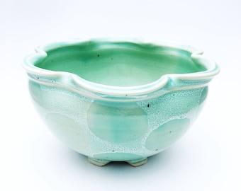 Handmade stoneware pottery bowl in the sweet mint polkadot