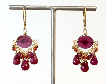 Garnet, ruby and gold filled earrings