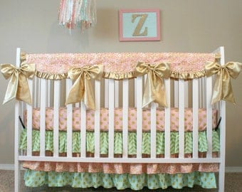 Glitz in Sparkly Gold, Blush and Mint - Custom Crib Bedding Set - Pink Ruffled Baby Girl Bedding with Bows
