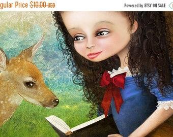 "50% Off SALE 5x7 Fine Art Print - ""Snow White"" - Cute Little Girl Art Print - Fairy Tale - Snow White and the Seven Dwarfs - Fantasy Portrai"