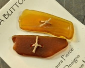 Set of two brown and unusual amber naturally ocean tumbled Maine sea glass toggle buttons