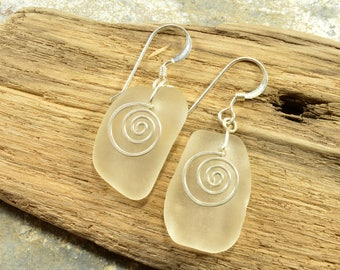 Essential little icy white genuine Maine sea / beach glass earrings with hand forged sterling silver spirals