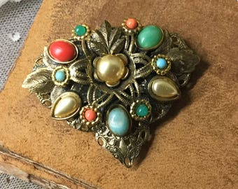 Boho Inspired Brightly Coloured Antiqued Gold Tone Czech Dress Clip Unsigned 1950's 1960's Red Green Blue Coral Hued Cabochons Feminine