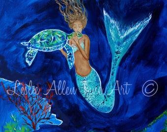 """Mermaid Art Print Mermaids Wall Art Painting Sea Turtle Underwater Ocean Fantasy   """"Beauty And The Sea Turtle""""  Leslie Allen Fine Art"""