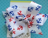 White with Red and Blue Anchors Classic Diva Bow