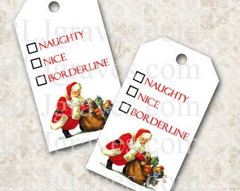 Printable Christmas Naughty Nice Gift Tags Christmas Party Favor Treat Bag Tags TC004