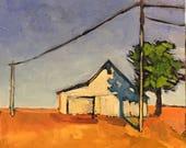"""Road Trip - Original Oil Encaustic Landscape Painting - 10""""x 10"""""""