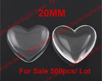 Sale 500pcs 20mm Heart Clear Glass Cabochon Wholesale