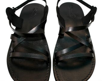 CLEARANCE SALE - Black Star Leather Sandals for Men & Women - EURO # 36 - Handmade Unisex Sandals, Genuine Leather Sandals, Sale