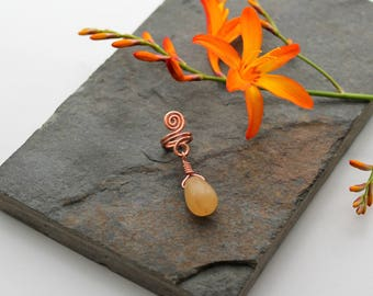 Spiral with Honey Jade dangle Beard, Dreadlock or braid ring or bead - Shiny Copper - Medium