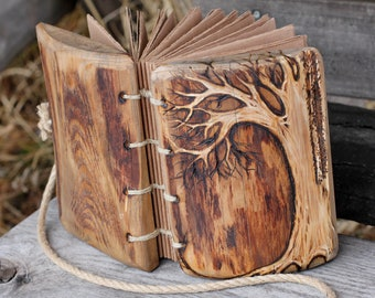 Wedding Guest Book wood custom rustic journal with tree of life wooden guestbook bridal shower engagement anniversary
