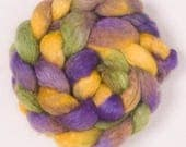 Hand painted combed  top, roving,  BFL, Kid  Mohair, BFL Mohair Hand dyed spinning wool, felting fiber, spinning fibre, Violetta