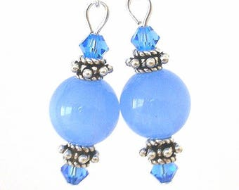 Cornflower blue earrings, Swarovski crystal and glass with antiqued silver accents, blue and silver earrings