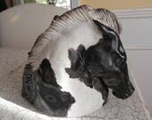 black and white porcelain paint horse head statue sculpture