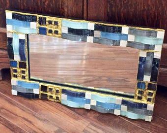 Gold Waves Mosaic Mirror