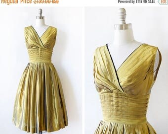 20% OFF SALE 50s gold dress, vintage 1950s party dress, shimmery shantung silk dress, extra small xs