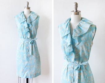 vintage 60s blue floral dress, 1960 ruffled dress, sleeveless button up dress, medium large ml