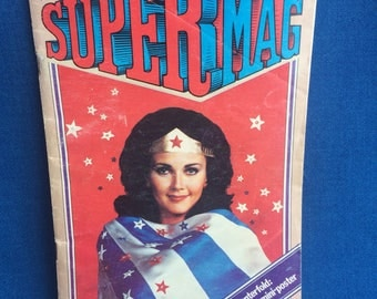 Vintage Super Mag with Lynda Carter as Wonder Woman, Lindsay Wagner The Bionic Woman Super Hero Magazine 1970's with Star Wars