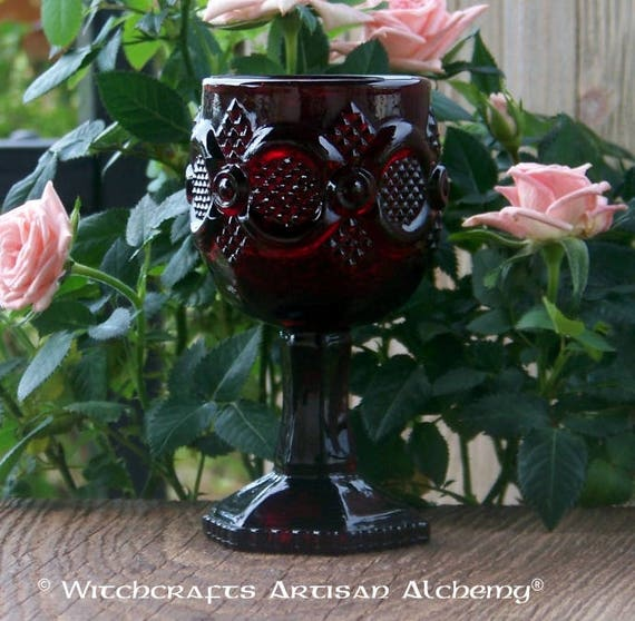 RUBY RED Vintage Goblet Chalice Cup, Avon 1876 Cape Cod Collection, High Quality Solid Glass, Excellent Condition