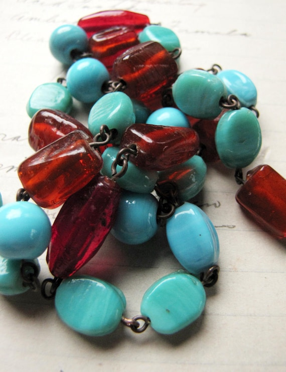 Basket Weaving Supplies Melbourne : Chunky glass beaded chain s pastel blue and cherry