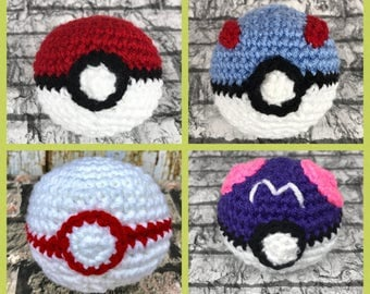 Pokeball, Great Ball, Premier Ball, Master Ball, Amigurumi toy, red and white, Free Shipping, Crochet soft ball, handmade child toy