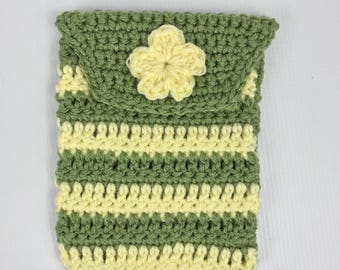 Crochet hook case, pouch, storage, sage green and yellow, ready to ship