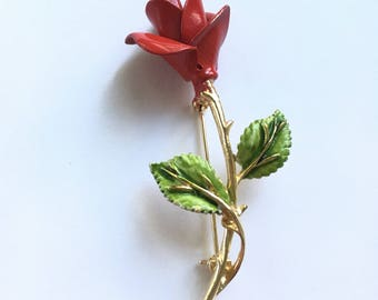 Vintage Signed Pastelli Enamel Red Rose Retro Flower Pin Brooch