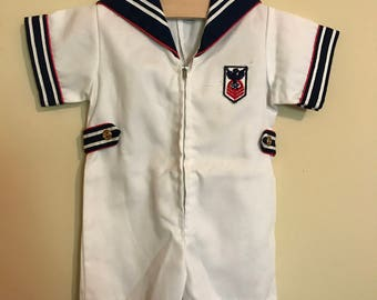 White Sailor Romper, Vintage Baby Boys White Onesie Sailor Suit, Nautical Style Sailor Outfit