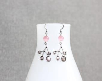 boucles d'oreilles,bijoux mode, ado,earring,mode, jewelry, gift, bal, fleur, flower, acier chirurgical, delicat, rose, pink, boho, bohème