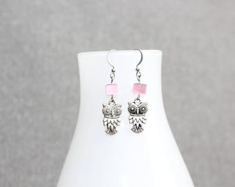 boucles d'oreilles hiboux,bijoux mode, Boucles d'oreille ado,Owls earring, jewelry, gift, pink, rose, hypoallergene, minimaliste, funky