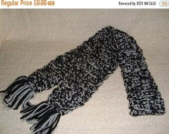 Christmas in July Handmade Black and White Crochet Scarf