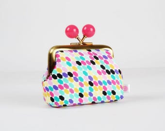 Metal frame coin purse with color bobbles - Tessellate - Color mum / Mosaic / mint green pink black yellow purple blue