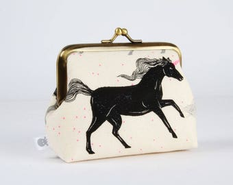 Metal frame change purse - Black unicorn - Deep dad / Japanese fabric / Cotton and Steel / Sarah Watts / neon pink