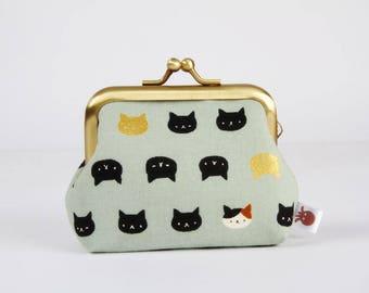 Metal frame change purse - Mini Neko cats on light sage green - Big mum / Kawaii japanese fabric / greyish green black and white gold