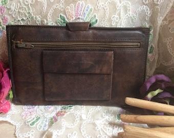 Vintage unisex distressed brown leather passport folder, Rolf's brown cowhide slim passport wallet organizer, travel wallet, inside pocket