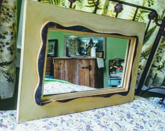 Oblong Serpentine Mirror from Reclaimed Lumber in Yellow and Brown