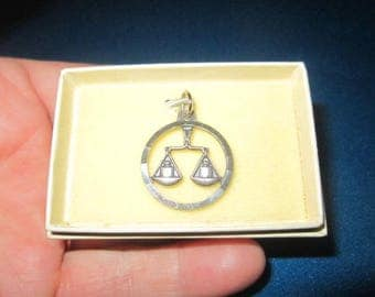 Vintage 1960s Sterling Silver Libra Scales Pendant Charm New Old Store Stock
