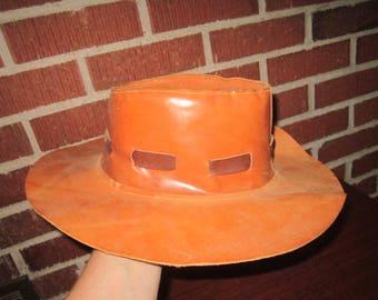 Vintage Mens Brown Leather Bush Hat Size 21 1/2 Hat in Excellent Condition