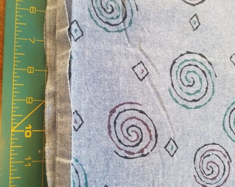 Chambray with allover swirl print medium weight almost 2-1/2yd