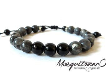 Men in Black Jade bracelet Labradorite, pearls, spirit stone, bracelet gift, Guy, for him,