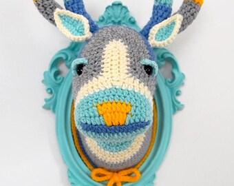 Faux Deer Head, Crochet Taxidermy, Crochet Deer, Amigurumi Deer - Crochet Color Block Deer Head in a Light Turquoise Frame by Manafka Mina