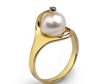 SALE 20% Off - RA 14k Gold Pearl Ring,  Gold Pearl Engagement Ring, Diamond Pearl Ring, Pearl Diamond Engagement Ring, Pearl Diamond Ring